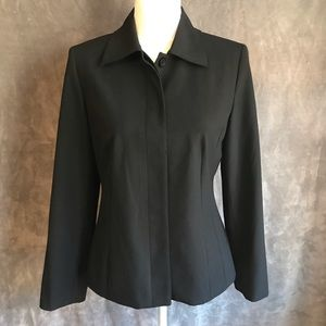 Talbots Black Stretch Blazer Hidden Placket 4
